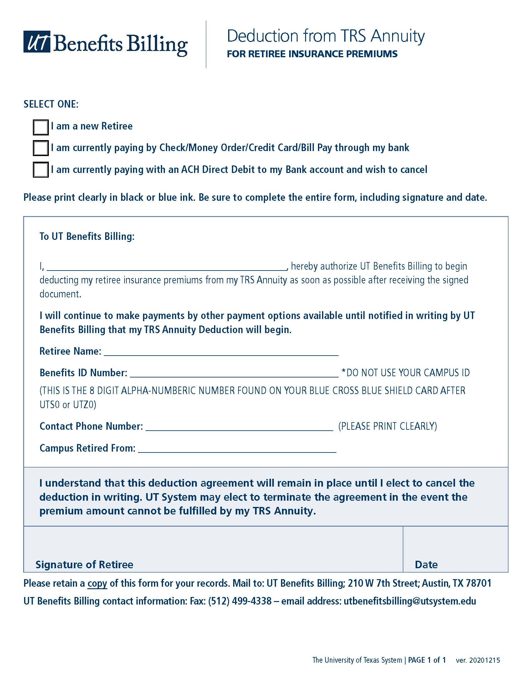 TRS Annuity Deduction Form   University of Texas System