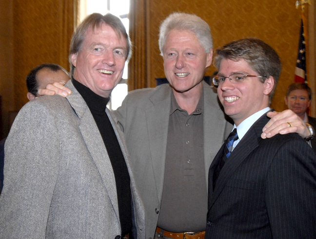 Student Regent Dower with Former President Clinton, and U. T. Austin President