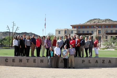 FY 2017 EAC: Employee Advisory Committee standing at the UTEP Centennial Plaza