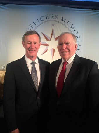 UT System Chancellor William H. McRaven (left) and CIA Director John O. Brennan (right). McRaven was named the 2016 Richard M. Helms Award recipient.