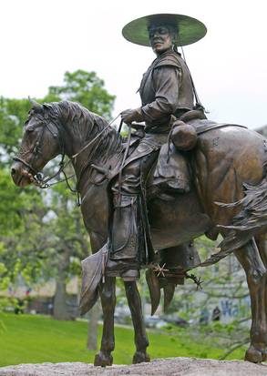 A vaquero is depicted as part of the Tejano Monument at the Texas Capitol in Austin. Photo by Ralph Barrera/Austin American-Statesman