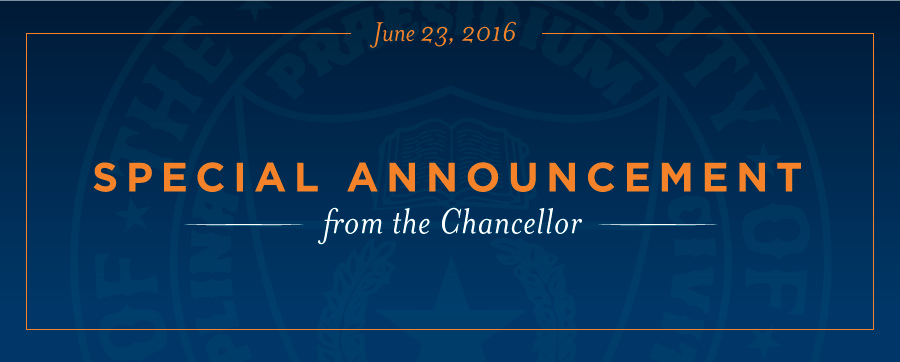 Special Announcement from the Chancellor