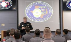 Director of Police Michael Heidingsfield leads a training at the Academy.