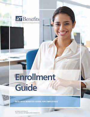 Enrollment guide cover with an employee