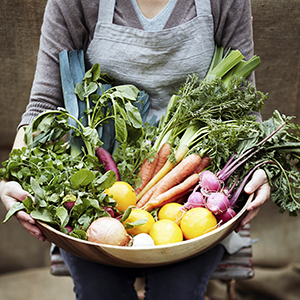 image of a person holding a basket of vegitables