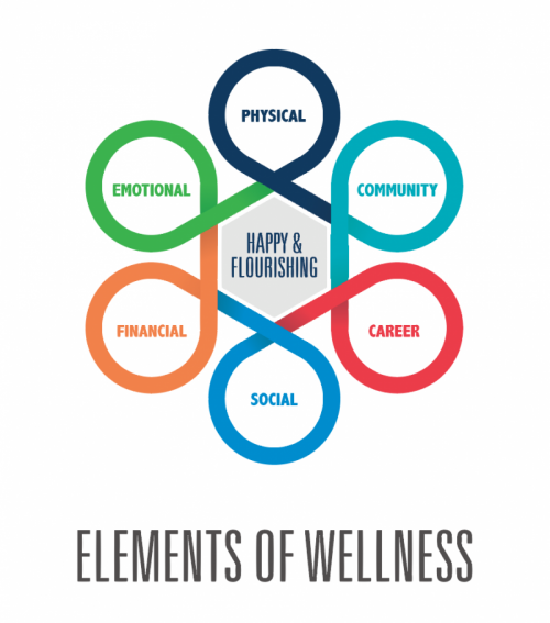 Elements of Wellness: physical, community, career, social, financial, emotional. Happy & Flourishing