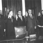Governor Connally swearing in (from left) Regents Ikard, Josey, Bauer, & Heath