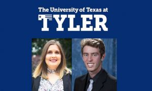 UT Tyler log with photos of students Savannah Seely and Arthur Oenning-Fagundes