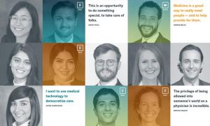 Grid of faces and quotes of UT Austin Dell Medical School grads
