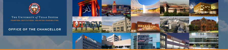 collage of 14 institution photos and ut system building