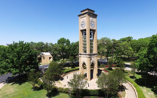 UT Tyler bell tower on a bright day