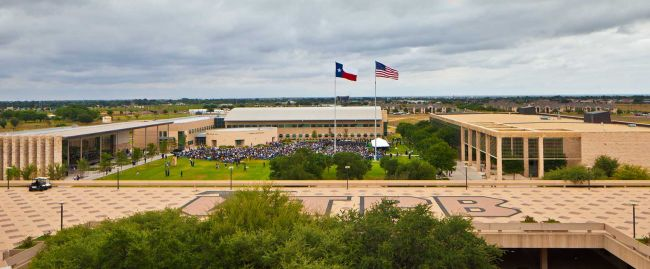 Far away and up view of the UT PB commons