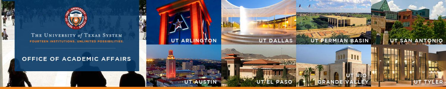 The University of Texas System, Office of Academic Affairs. Photo montage of the 8 academic institutions.