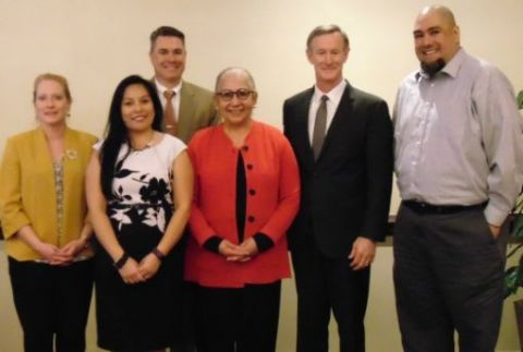 25 year honorees (l-r): Gay Faulkner, Cindy Carrillo, Craig Eivens, Juliet Garcia, Chancellor McRaven, Christopher Palacios