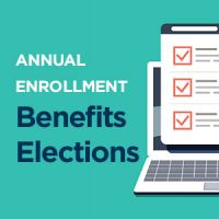graphic of computer with text overlay: Annual Enrollment Benefits Elections