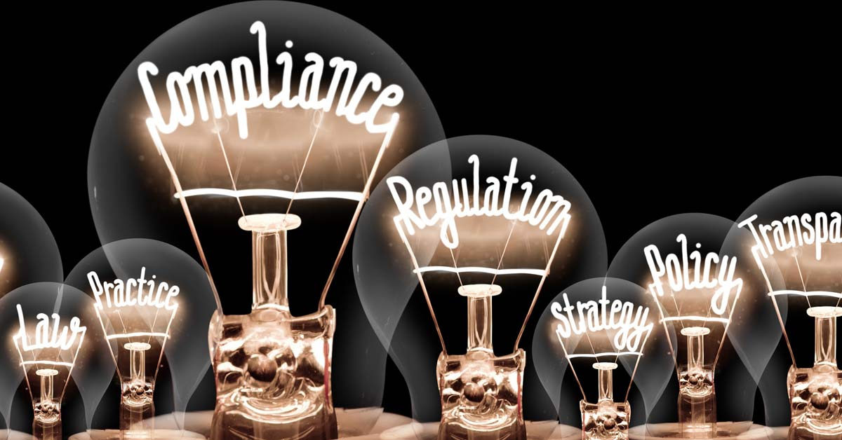 composite image of lightbulbs with clear glass covers, the filament of the light bulbs are made of words like: Compliance, Regulation, Policy...